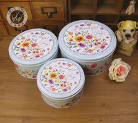 Round biscuit box tin three-piece set of small flowers pattern beautifully fine first-class first-rate splendidly super gift box
