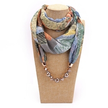 LARRIVED Pendant Necklace Scarf For Women Print Chiffon & Champagne Pendants Femme Accessories Hijab