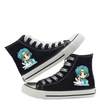 Sailor Neptune/Sailor Moon Kawaii Cartoon Printed Women's Fashion High-top High-heeled Breathable Canvas Sneakers A193151 цена