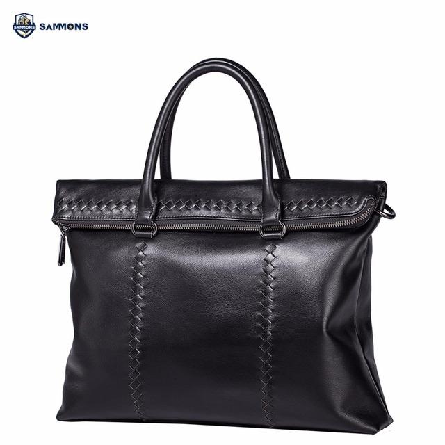 SAMMONS Brand Design Business Casual Braided Genuine Cow Leather Men Handbag Shoulder Crossbody Bags