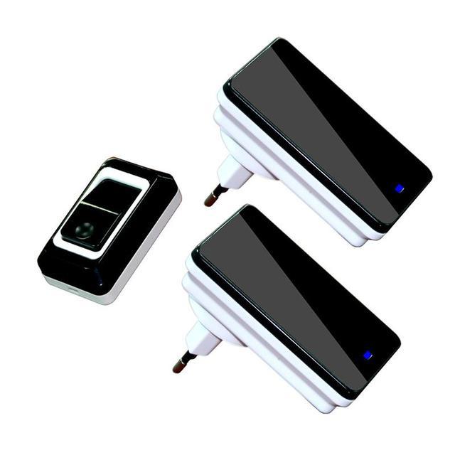 Wholesales Saful Waterproof Touch LED Door Bell EU/US Plug Wireless DoorBell kits 1 Push Doorbells Button+2 Receivers No Battery
