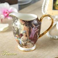 Vintage Bone China Milk Jug 340ml British Pastoral Porcelain Creamer Europe Ceramic Tea Coffee Pitcher Espresso Cup