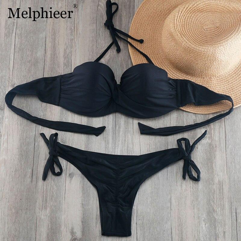 HTB1WjSza1LM8KJjSZFqq6y7.FXar Bikini Solid Strappy Bandage Bikinis Set White Push Up Bikini Swimwear Bandeau Brazilian Swimsuit Bathing Suit Maillot De Bain