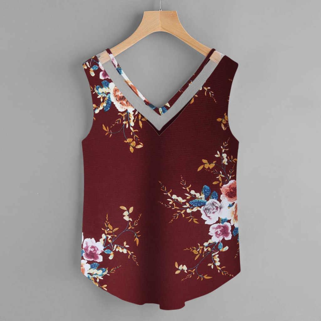 גבירותיי חולצות blusasMujerדהModa2019נשים שלחולצהחולצת נשים פרחוני מזדמן שרוולים אפוד טנק חולצה חולצה Cami למעלה bluz