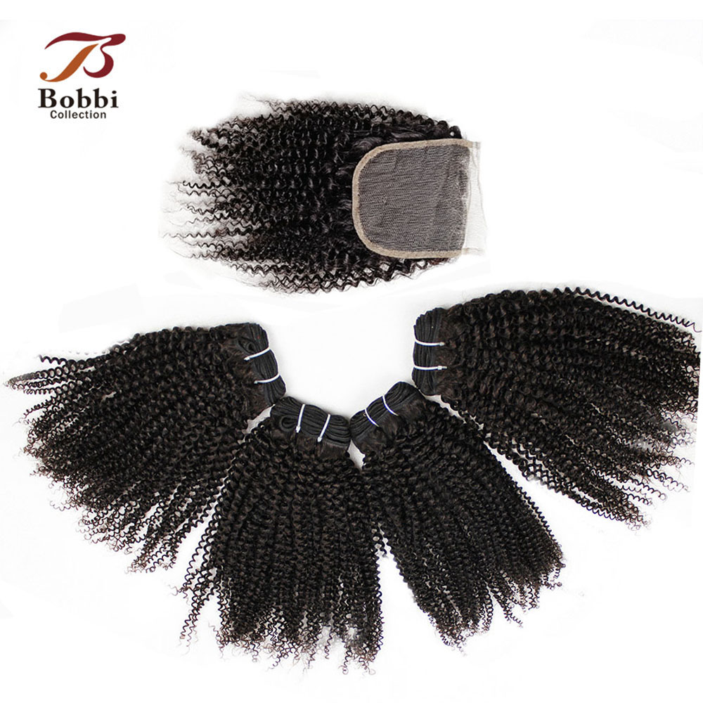 BOBBI COLLECTION Afro Kinky Curly Human Hair Weave 3/4 Bundles With Closure Natural Color Non-Remy Brazilian Hair Extensions
