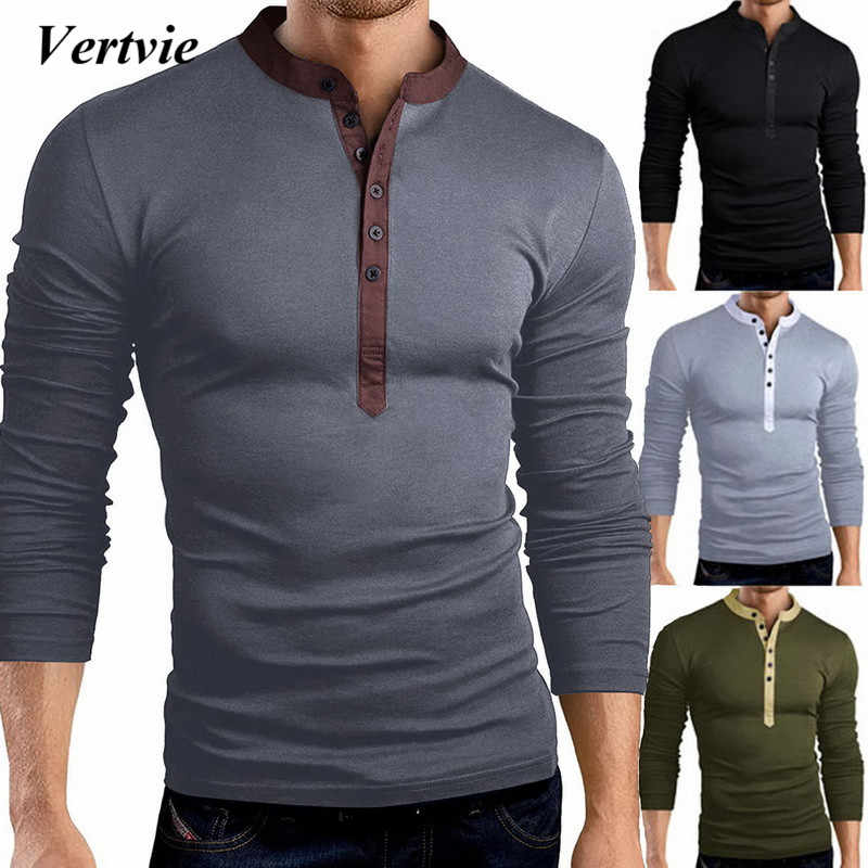 c015685e717a Detail Feedback Questions about VERTVIE 2018 Autumn Button T Shirt Men Long  Sleeve V neck Tee&Tops Fashion Design Solid Slim Fit Clothing Male Brand New  ...