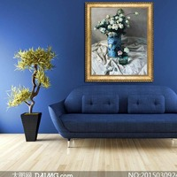 Hand drawn canvas painting abstract blue floral art oil painting in living room decorative canvas realistic painting