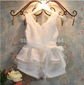 [Bosudhsou.] V1 frete grátis varejo novas meninas coletes à prova de roupas de moda verão das crianças conjunto terno 2 ~ 6 anos de idade as crianças roupas