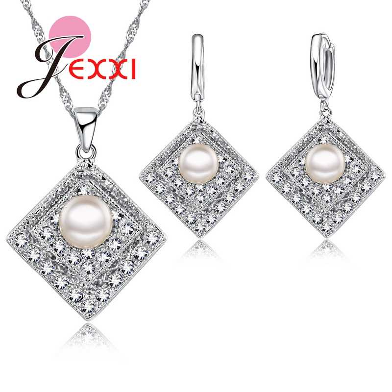 Fashion Rhombus Design With Full Shiny CZ Crystal And Pearl Women/Girl 925 Sterling Silver Necklace & Earrings Jewerly Set