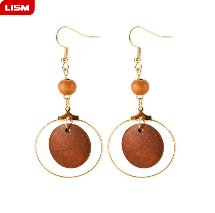 Fashion Simple Trendy Gold Color Geometric Big Round Circle Wood Earrings For Women Fashion Large Hollow Drop Earrings Jewelry