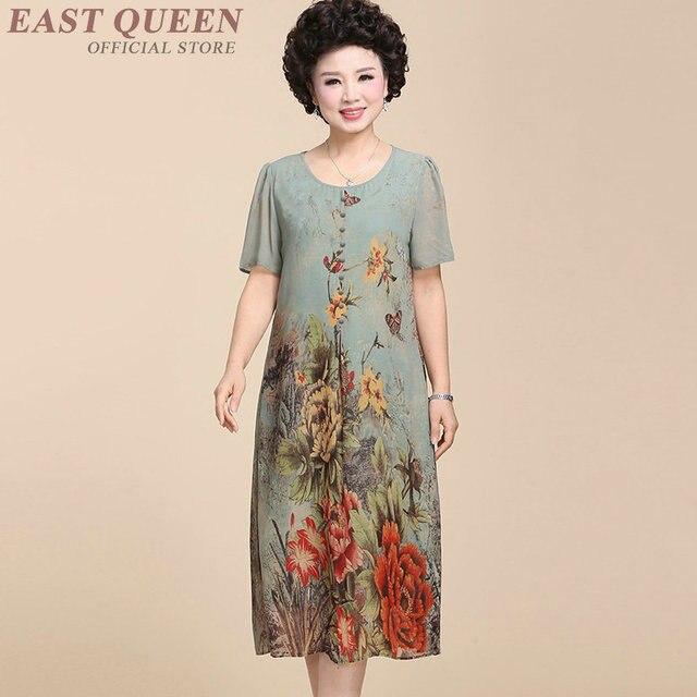 3ccf6805b Abuela ropa vestidos para las mujeres mayores del vestido Edad Media floral  Vestido de manga corta