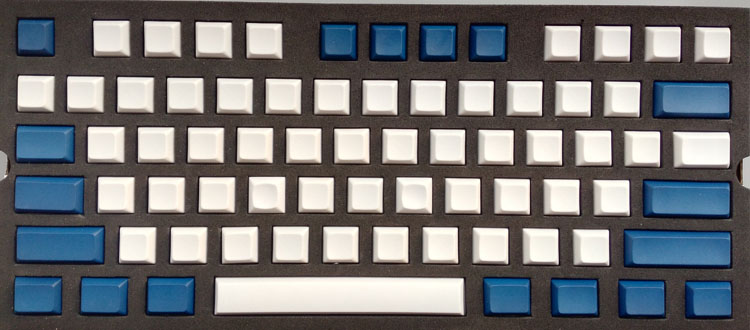 PBT DAS Blank White Blue Keycaps for 61 87 104 108 Minila Gaming Mechanical Keyboard
