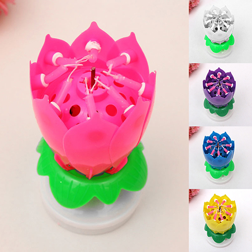 Musical Lotus Flower Blossom Rotating Happy Birthday Song Candles