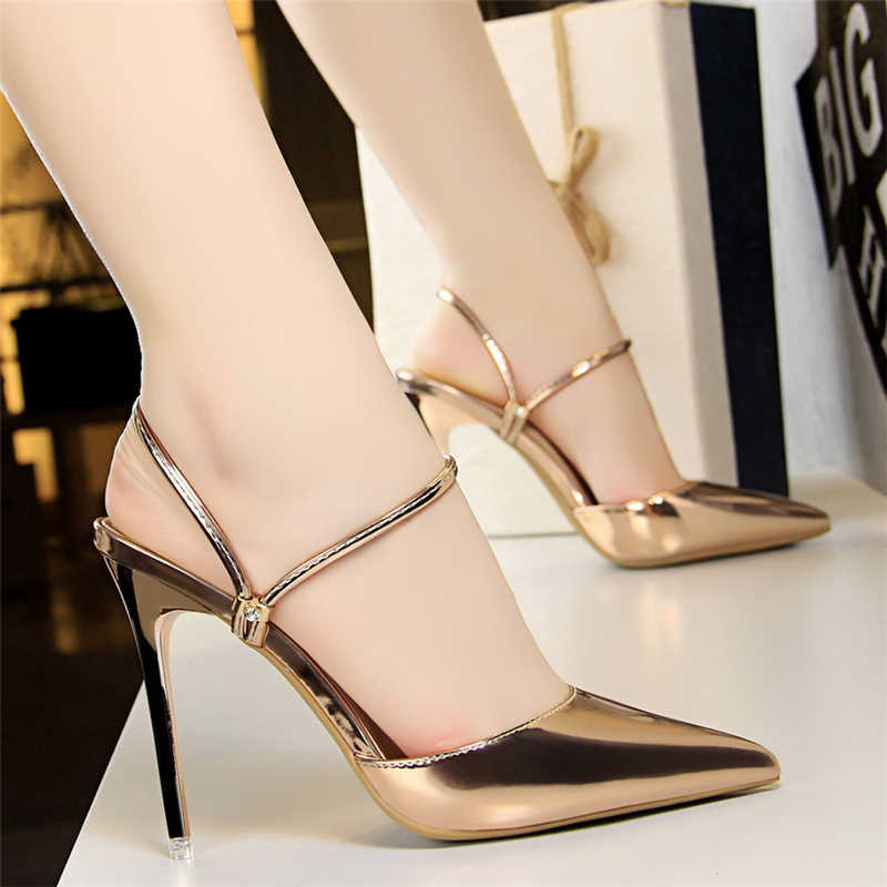 2018 Summer Women Fashion 10cm High Heels Slides Female Sexy Gold Blue  Strappy Pumps Lady Scarpins b624f4ee9d56