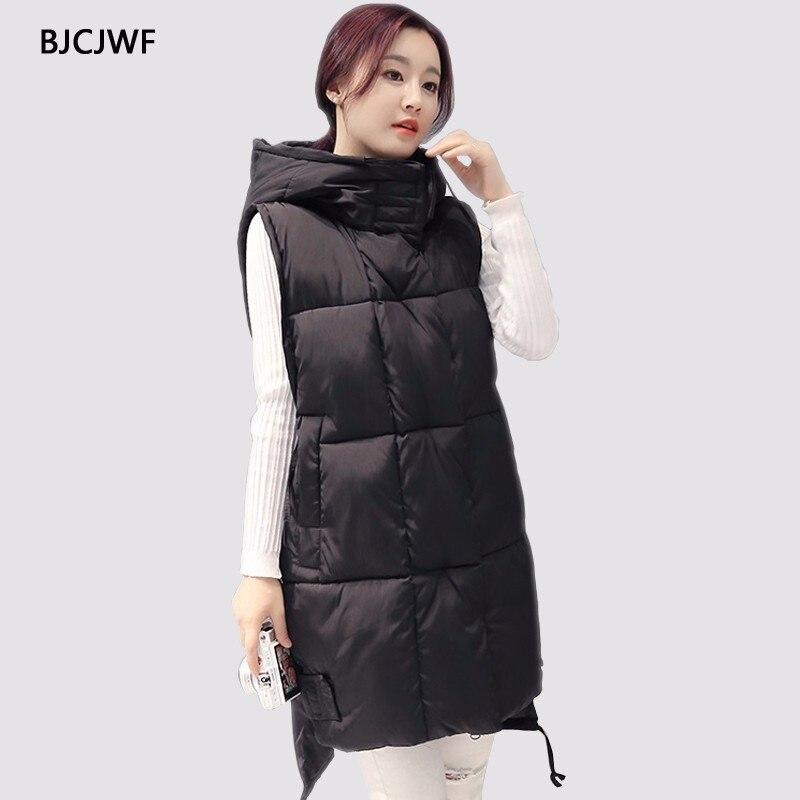 BJCJWF nouvelle marque hiver veste femme coupe-vent chaud Long coton gilet décontracté sans manches à capuche femme manteau veste