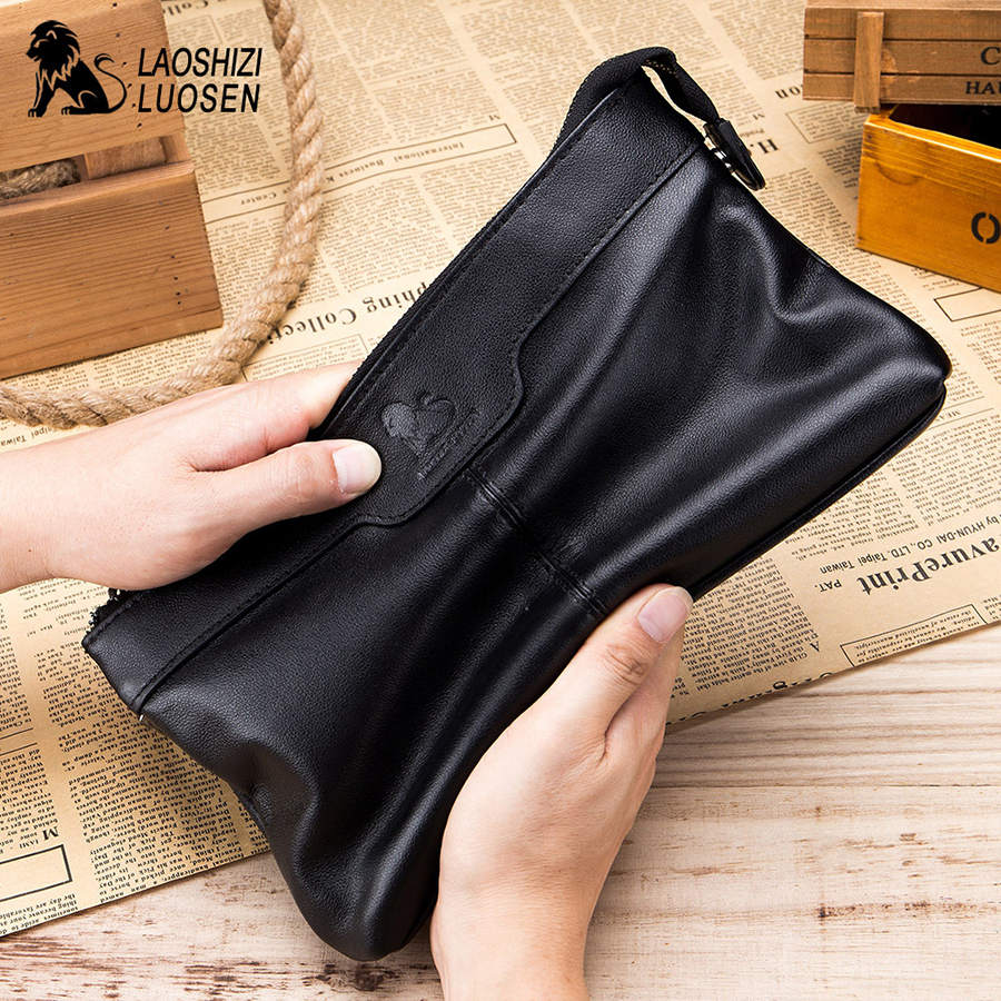LAOSHIZI LUOSEN Genuine Leather Men Envelope Clutch Bag for Phone Purse Male Clutch Wristbands Zipper Long Wallet Mens 2018 New 2018 new mens long wallet 100