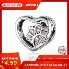 899d91d31 WOSTU Luxury Heart Dog Paw Beads 925 Sterling Silver Pink Enamel Charm Fit  Original Bracelet Pendant Silver 925 Jewelry CQC1191
