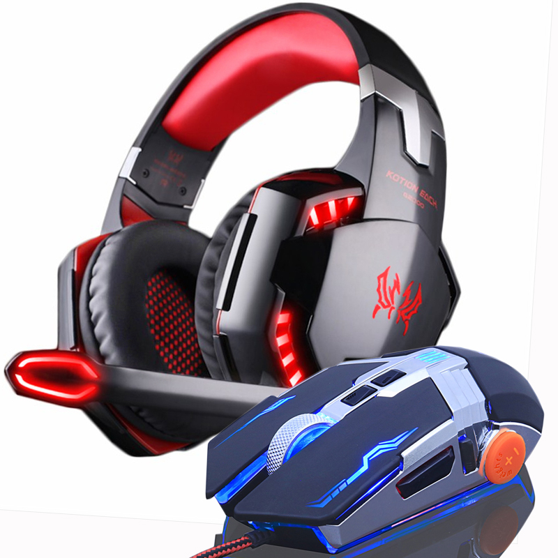 Gaming Headphones Headset Earphone Over ear with Microphone Stereo Bass Gaming Mouse DPI LED USB Wired Mice Optical gift in Headphone Headset from Consumer Electronics