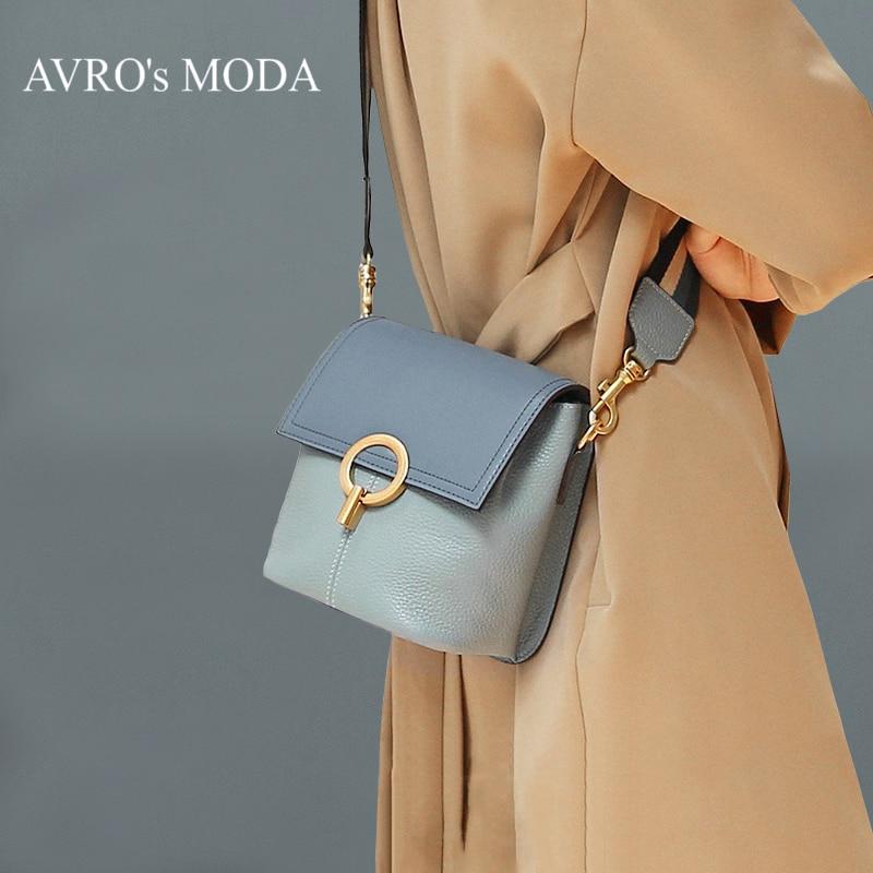 AVRO s MODA Luxury brand design genuine leather shoulder bucket bags for women 2019 small retro