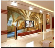 Free shopping 2015 New non-woven 3 d dome church background wall wallpaper