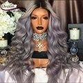 8A Cabelo Humano Full Lace Wigs Para As Mulheres Negras T1b/cinza Ombre Cabelo Humano rendas Frente Perucas 150% Densidade de Prata Cinza Rendas Frontal peruca