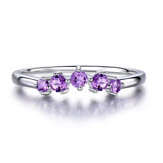UMCHO Natural Amethyst Gemstone 925 Sterling Silver Ring For Women Wedding Christmas Wedding Ring Brand Fine Jewelry