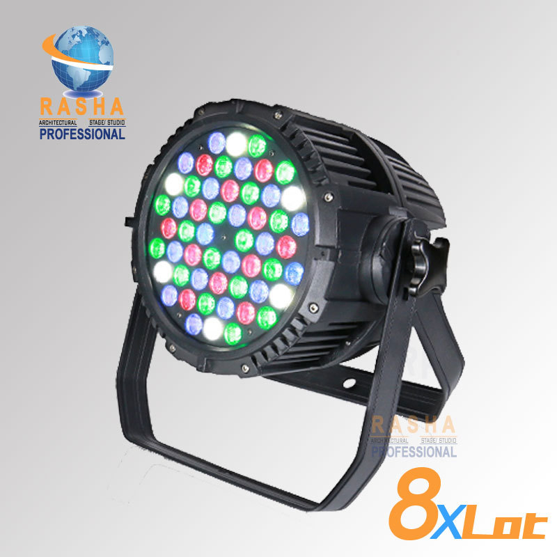 Rasha Hot Sale 54*3W RGBW Waterproof IP65 LED Par Light For Outdoor Disco Party Event LED PAR WASH LIGHT Stage Projector