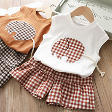 Toddler Kid Baby Girls Outfits Clothes Cute Vest Shirt+Plaid Bowknot Shorts Set