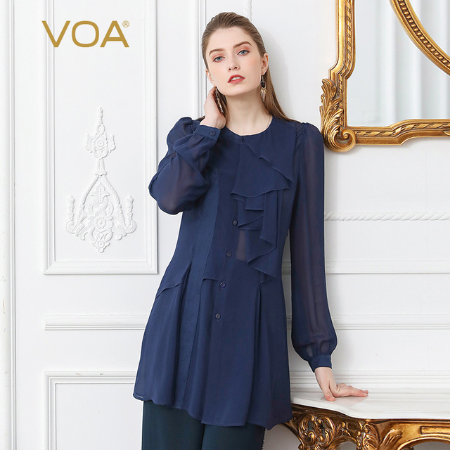 VOA Silk Georgette Sexy Blouse Shirt Plus Size 5XL Women Tops Solid Navy Blue Slim Ruffle Lantern Long Sleeve Summer Casual B110