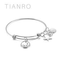 TIANRO High-quality Stainless steel plating Rhodium men and women bracelet ink painting bangle jewelry TRB0005W