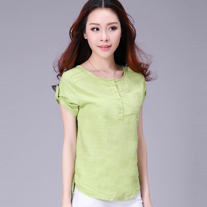 Ladies cotton short-sleeve shirt-sleeved linen blouses female commoner sleeved linen shirt plus size