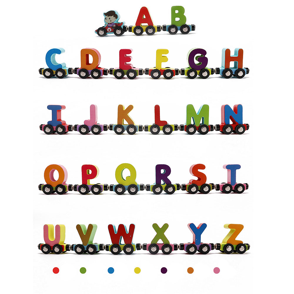 Colorful Wooden Train Figure Model Toy with Alphabetical Number Wooden Letters Train Educational Assemble Toy Set wooden kissing pigs toy