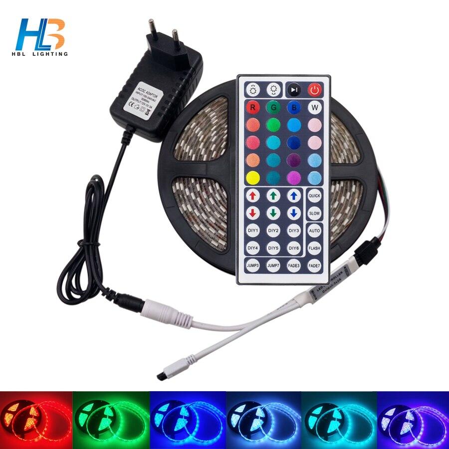 Led Strip 5M 10M 5050 Non Waterproof LED Strip Light Led Ribbon Rgb Led Diode Tape 44 Key Controller Power Adapter Kit For Home