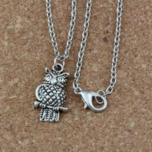 24pcs / lot Ancient silver Alloy Owl Charms Pendant Necklaces 18 inches Chains Jewelry DIY A-229d