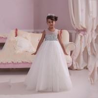 DF219 Glitz Sparkling Beaded White Flower Girl Dresses 2016 Tulle Pageant First Communion Dress For Girls