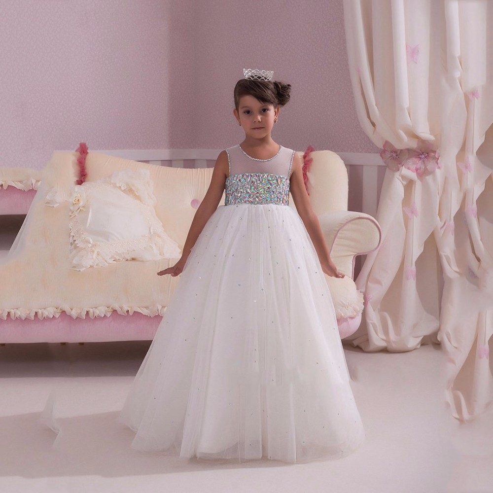 Df219 Glitz Sparkling Beaded White Flower Dresses 2016 Tulle Pageant First Communion Dress For S Customized In From Weddings