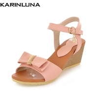 Karinluna Good Quality Wholesale Sweet Bow Wedges Heels Women Shoes Summer Sandals Comfortable Woman Shoes