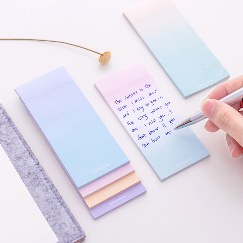 Kawaii Gradient Memo Pad Cute Colorful Sticky Notes Novelty Journal Shopping List School Office Material Stationery Post Memopad