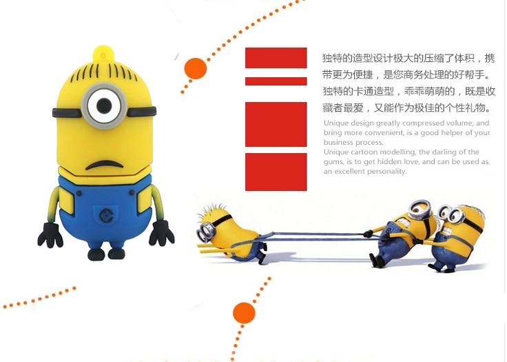 Despicable Me yellow man 2GB 4GB 8GB 16GB minions USB Flash Drive Memory Card Stick Thumb/Car key/Pendrive U Disk/creative Gift