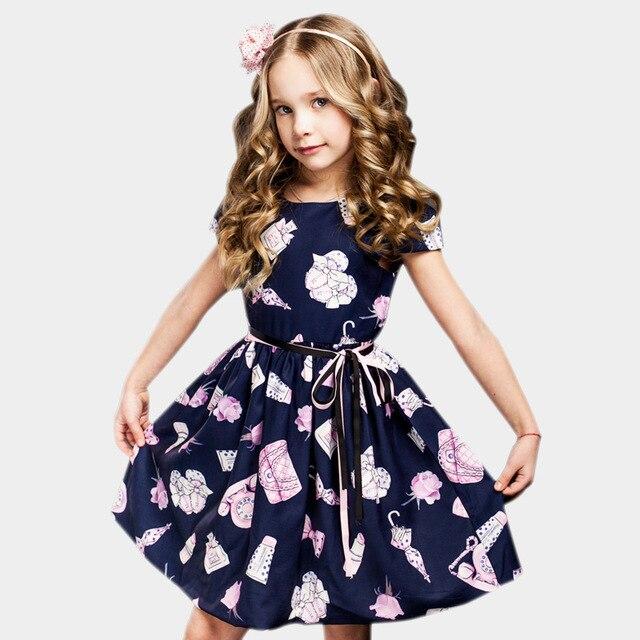 2452d6954478 Girls Summer Dress 2018 Children Flower Print Dresses Baby Girls Princess  Dress For Party Kids Dresses For Girls 2-8 Years