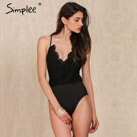 Simplee Apparel Black Lace Up Backless Sexy Bodysuit Christmas Winter Elastic Deep V Neck Women Jumpsuit
