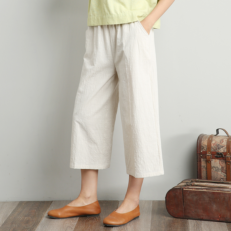 2018 New Spring Summer Women Cotton Linen   Wide     Leg     Pants   Elastic Waist Calf-Length Solid Color Vintage Loose Trouser