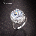 Newbark big vintage 3.5ct oval cz anéis de diamante para as mulheres rose banhado a ouro cor prata moda jóias presentes do amor anel