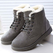 Winter Snow Boots Ladies Plus Size 43 Lace-Up Flock Ankle Boots Female Plush Keep Warm Flat Shoes For Women Round Toe Fashion plus size 34 43 fashion women boots with warm plush shoes spring autumn winter lace up punk flats round toe ankle martin boots