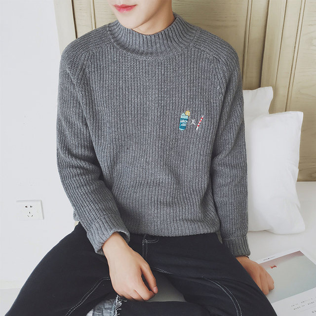 2016 New Arrival Spring Autumn Fashion Men's Casual Long Sleeved Slim Fit Turtleneck Pullover Sweater Gray/Green/Navy/Wine/khaki