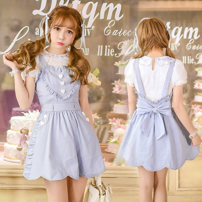 Princesse sweet lolita robe la nouvelle robe d'été japonais amour faux deux bretelles de cow - boy robe C16AB6049