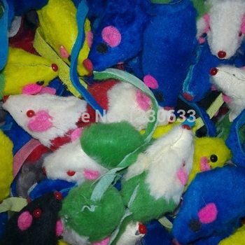 Westrice Cat Toy Colorful Soft Fleece False Mouse Cat Toys Colorful Feather Funny Playing Toys for Cats Kitten  Mouse 200 3cm