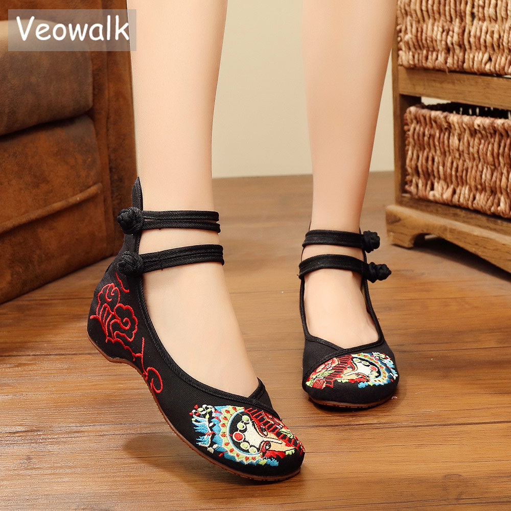 Veowalk Beijing Opera Embroidered Women's Canvas Ballet Flats High Top Ankle Strap Vintage Ladies Soft Fabric Bridal Shoes beijing top 10 map