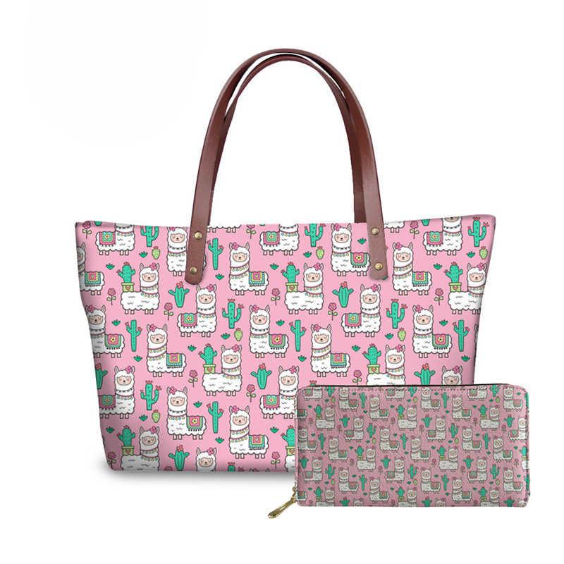 NOISYDESIGNS Zoete Roze Alpaca Afdrukken Handtassen en Portefeuilles Vrouwen 2 stks/set Hand Tas Dames Schouder Messenger Bags voor Vrouwelijke Bolsa