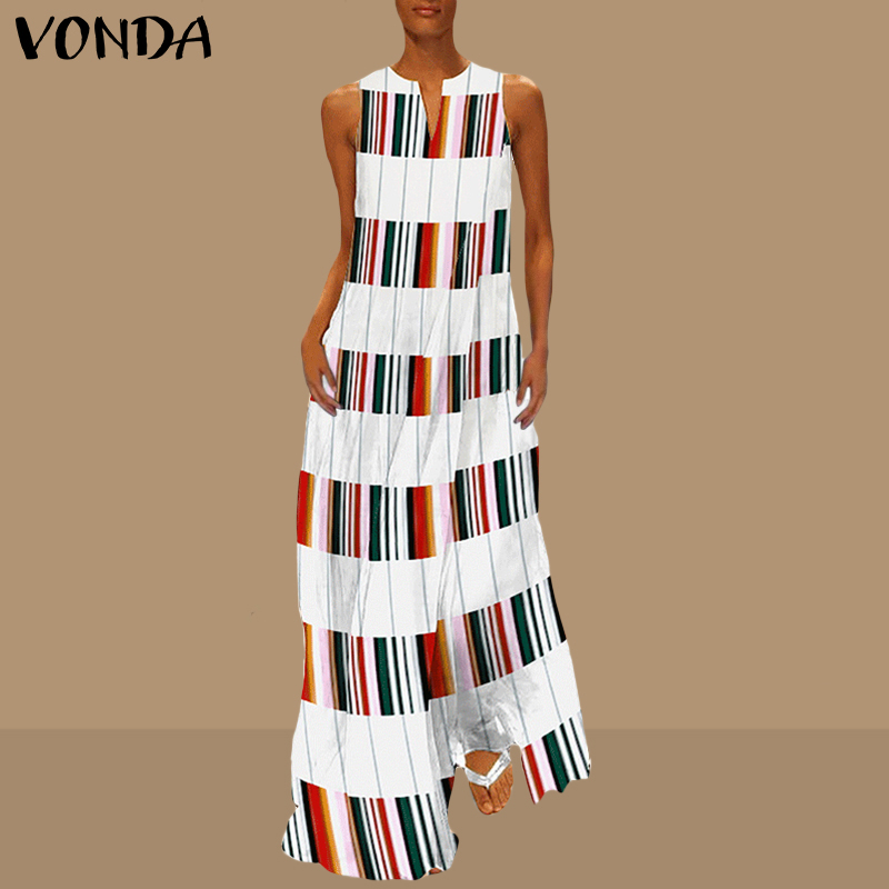 VONDA Women Maxi Long Stripe Dress 2019 Summer Pregnant Sexy V Neck Sleeveless Casual Ankle-length Maternity Vestidos Plus Size